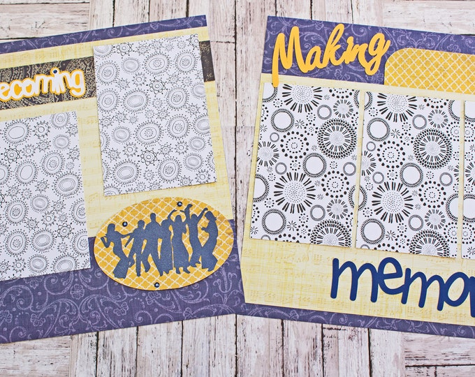 Any Color, Custom Homecoming, Scrapbook Pages, Memory Scrap Book, High School Memories, Elegant Floral Design,  Premade Home Coming Page Set