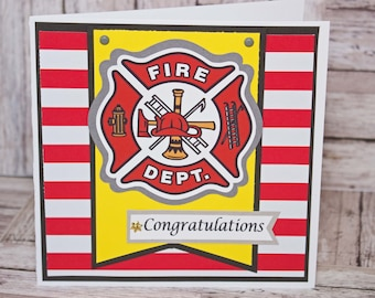Firefighter Congratulations Card, Handmade Greeting, Retirement Graduation Promotion, Firemen Firewomen Congrats, Fire Department, Custom