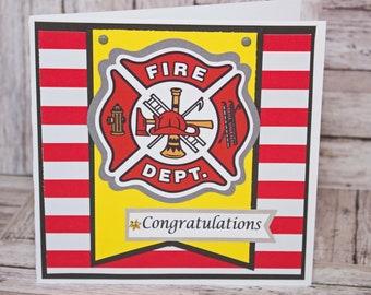 Firefighter Congratulations Card, Handmade Greeting, Retirement Graduation Promotion, Firemen Firewomen Congrats, Fire Department, Custom