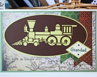 Custom Train Card, Father's Day Card, Birthday Card, Steam Engine Card, Locomotive Card, Train Engine Card, Handmade Card, Train Birthday