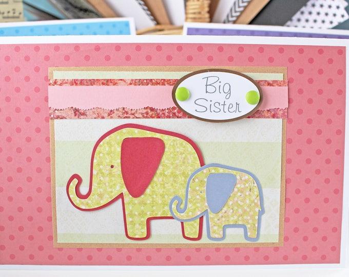 Custom, Big Sister Card, New Sibling Card, Baby Elephant, Handmade, Baby Shower, Newborn Congrat, Safari Animal, Noah's Ark, Baby Animal