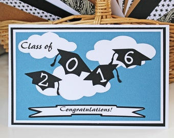 Customize for Any Year, Flying Graduation Caps, Handmade Graduation Card, Flying Caps, Graduation Caps, Graduation Card, Caps in the Clouds