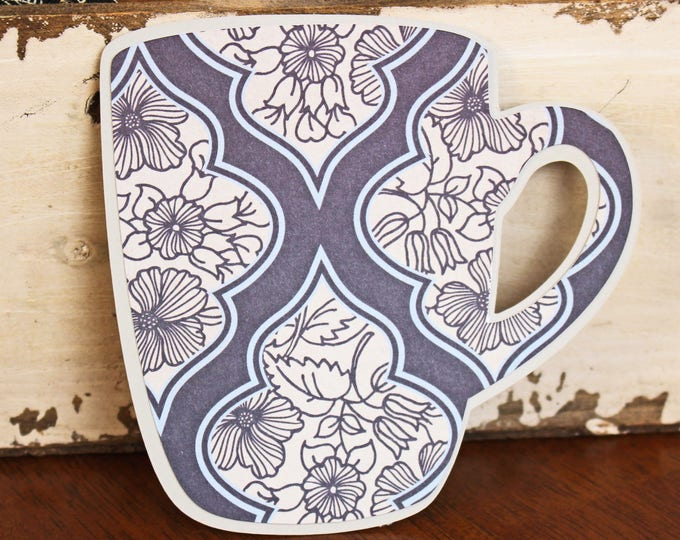 Coffee Mug Die Cut Set, 2 Coffee Cup Die Cuts, Tea Cup Die Cut, Cup of Tea Die Cut, Floral Die Cut, High Tea Die Cut, Luncheon Die Cut, Mug
