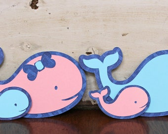 Baby Whale Die Cut Set, Set of 2 Die Cuts, Baby Scrapbook Embellishment, Nautical Baby Theme, Baby Whale, Mama, Daddy, Handmade, Sealife