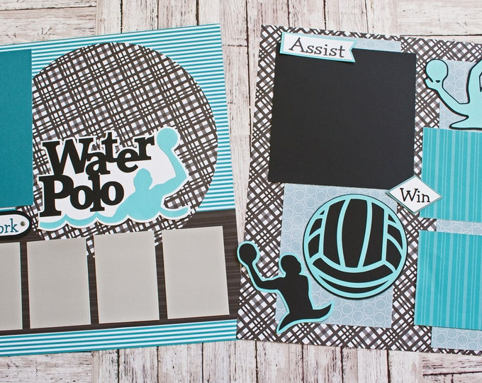 Pick Your Colors, Custom Made, Water Polo Scrapbook Page Set, Premade H20 Polo Pages, Personalized, Team Mascot, School Spirit, High School
