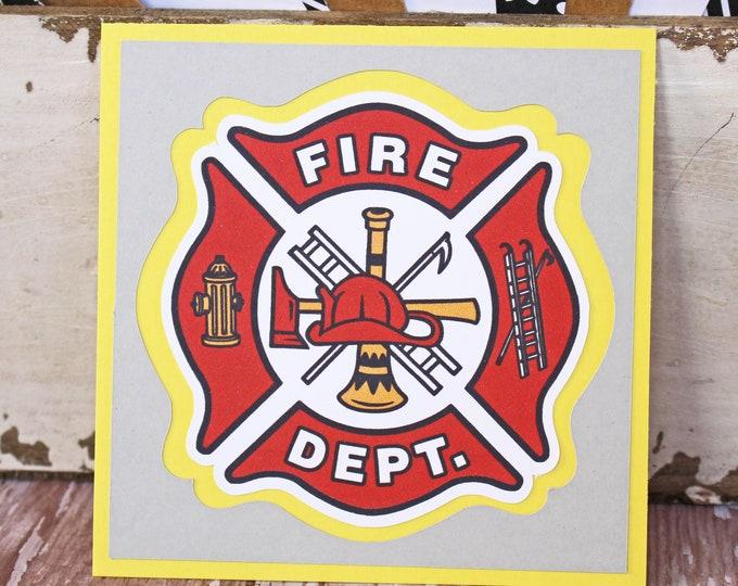 Fire Fighter Die Cut, Fire Dept Die Cut, Fireman Die Cut, Fire Department Die Cut, Firefighter Scrapbook, Fire House Die Cut, Embellishment