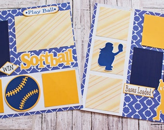 School Team Colors, Custom Made, Softball Scrapbook Page Set, Memory Book Kit, Premade Softball Pages,  Custom Mascot Design, Personalized