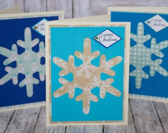 Set of 3, Snowflake Christmas Cards, Snowflake Cutouts, Handmade Greeting Cards, Christmas Greetings, Christmas Card Set, Snowflake Card