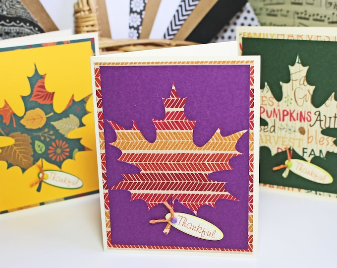 Set of 3, Maple Leaf Cards, Thanksgiving Card Set, Fall Harvest Cards, Thankful Cards, Giving Thanks Card, Handmade Cards, Fall Leaves Card