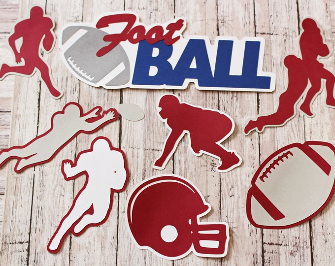Any Color, Football Die Cut Set, Set of 8, Scrapbooking, High School, College Sports, Team Color, Handmade Diecuts, Youth, Pro, Party Decor