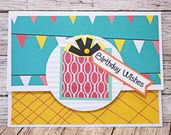 Birthday Gift Card Holder, Vibrant Money Card, Birthday Themed Gift Card, Handmade Money Card, Anyone Birthday, Any Gender, Celebration Gift