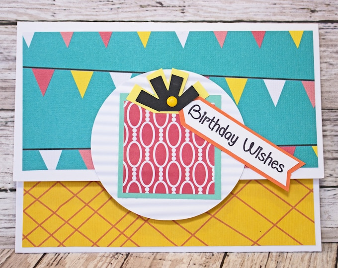 Birthday Gift Card Holder, Vibrant Money Card, Birthday Themed Gift Card, Handmade Money Card, Anyone Birthday, Any Gender, Celebration Gift
