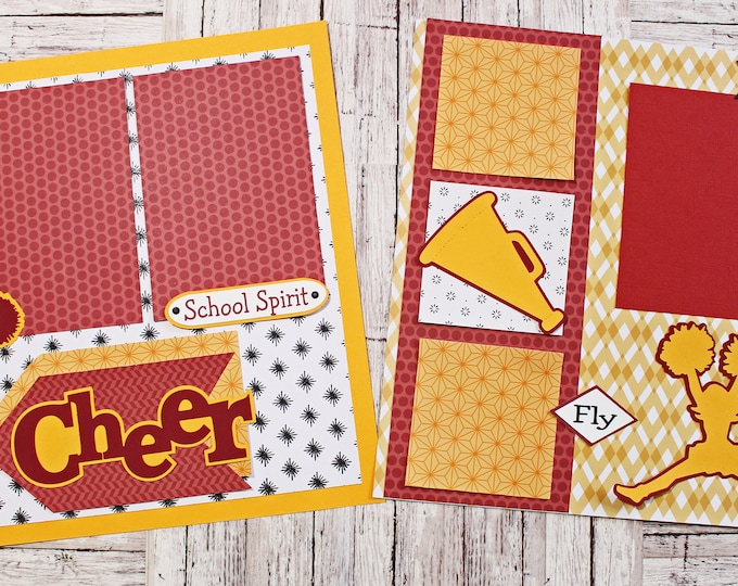 Pick Your Colors, Custom Made, Cheerleading Scrapbook Page Set, Premade Cheerleader Pages, Personalized, Team Mascot, High School Spirit