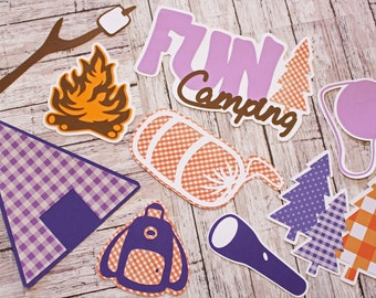 Camping Die Cuts, Custom Colors, 9 Piece Set, Layered Diecuts, Camp Scrapbook, Tent Camp Site Supplies, Campfire Smores, Handmade, Outdoors