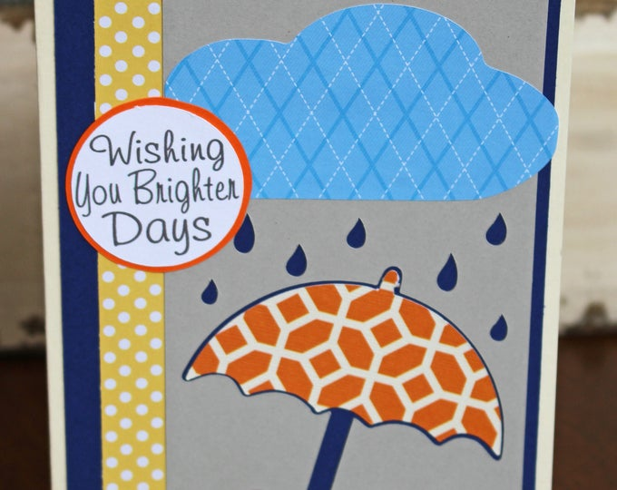 Wishing You Brighter Days Card, Umbrell Card, Thinking of You Card, Handmade, Greeting Card, Get Well Card, Under Weather, Card, Cheer Up