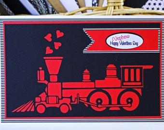 Locomotive Valentine Card, Boys Valentine Card, Teen Valentine Card, Train Valentine Card, Choo Choo Train Card, Train Valentine's Day Card