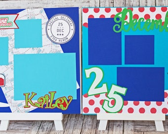 North Pole Themed Scrapbook Pages, Holiday Scrapbook, Pre-made Page Set, Layered Die Cuts, Christmas Wish, Letter for Santa, North Pole Mail