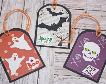 Halloween Tag Set, Set of 3 Hang Tags, Halloween Bat Tag, Party Decor, Treat Bag, Name Tag, Ghost Gift Tag, Skull Favor Tag, Trick or Treat