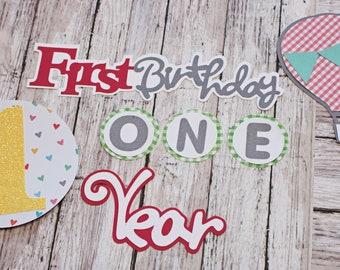 Birthday Girl, Any Color or Year, Layered Die Cut Set, Scrapbook Embellishment, Hot Air Balloon, Baby Book, Handmade Diecut,  Aviation Theme