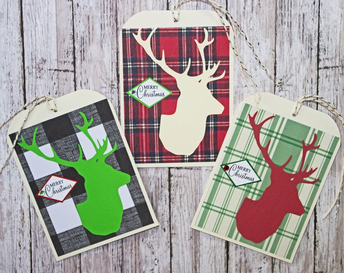 Set of 3, Large Stag Head Tags, Christmas Tags, Gift Tags,  Holiday Tag, Handmade Tags, Large Gift Tag, Deer Head, Elk Head, Buck Head, Wrap