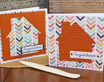 Modern, House Warming, Handmade Card, Retro House, Chevron Print, New Home, Congratulations, Housewarming, Congrats, First Home, Greeting