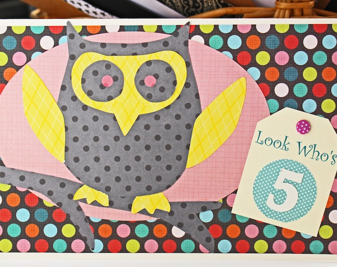 Custom Number Owl Birthday Card, Boy or Girl Card, Owl Birthday Card, Kids Party, Owl Themed Birthday, Handmade Card, Children's Birthday