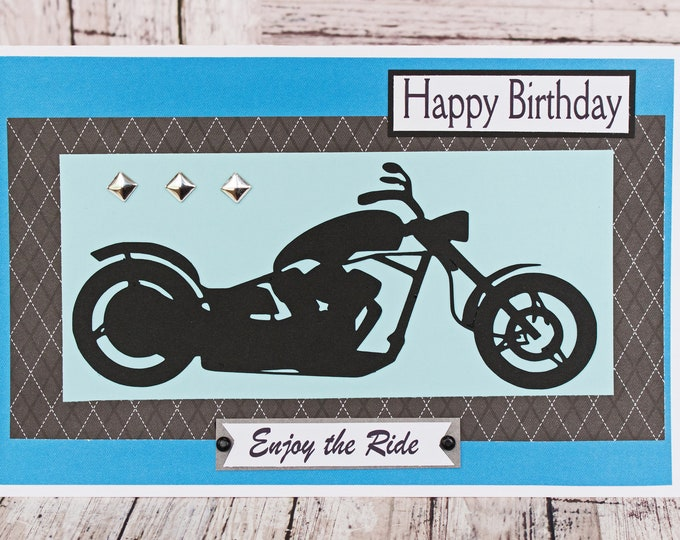 Custom Front Message, Enjoy the Ride, Motorcycle Card, Father's Day, Birthday, Harley, Motorcycle, Biker, Chopper, Handmade Card, Davidson