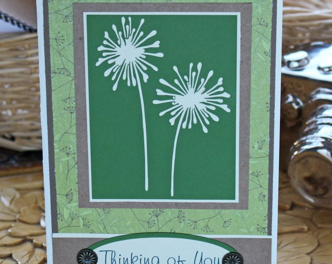 Dandelion, Thinking of You, Handmade Card, Sympathy, Encouragement, Bereavement, Sorry for Your Loss, Loved One, Endearing, Grief, Mourning