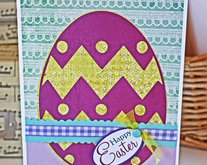 Colorful Easter Egg Card, Cheerful Happy Easter Card, Handmade Easter Egg Card, Sunday Egg Hunt, Vibrant Decorated Eggs, Christian Holiday