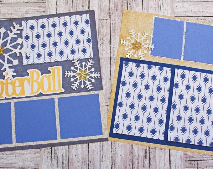 Any Color, Custom Winter Ball, Scrapbook Pages, Memory Scrap Book, High School Memories, Elegant Snow Design,  Premade Winterball Page Set