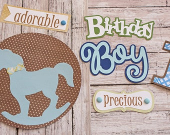 Birthday Boy, Any Age, Set of 6 Layered Die Cuts, Scrapbook Embellishment, Rocking Horse, Baby Book, Handmade, Little Boy, Antique Toy Theme