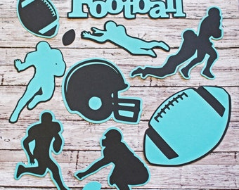 Any Color, Football Die Cut Set, Set of 11, Scrapbooking, High School, College Sports, Team Color, Handmade Diecuts, Youth, Pro, Party Decor