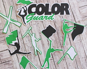 Any Color, Color Guard Die Cuts, Set of 8, Scrapbooking, High School, Marching Band, Team Color, Handmade Diecut, Memory Book, Party Decor