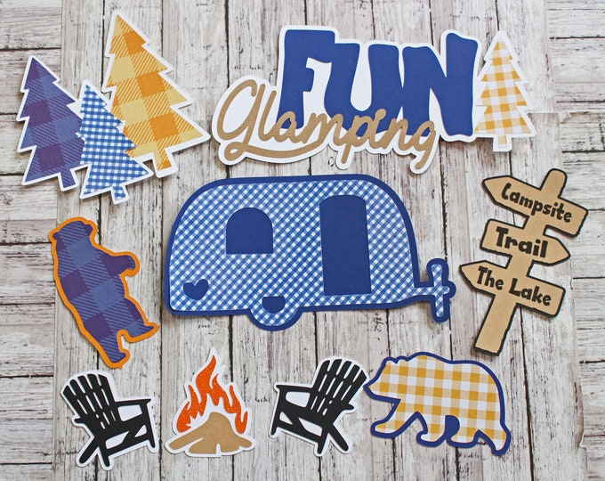 Fun Glamping Die Cuts, Custom Colors, 9 Piece Set, Layered Diecuts, Camping Scrapbook, Travel Trailer, 5th Wheel Camper, At Camp Woods Lake