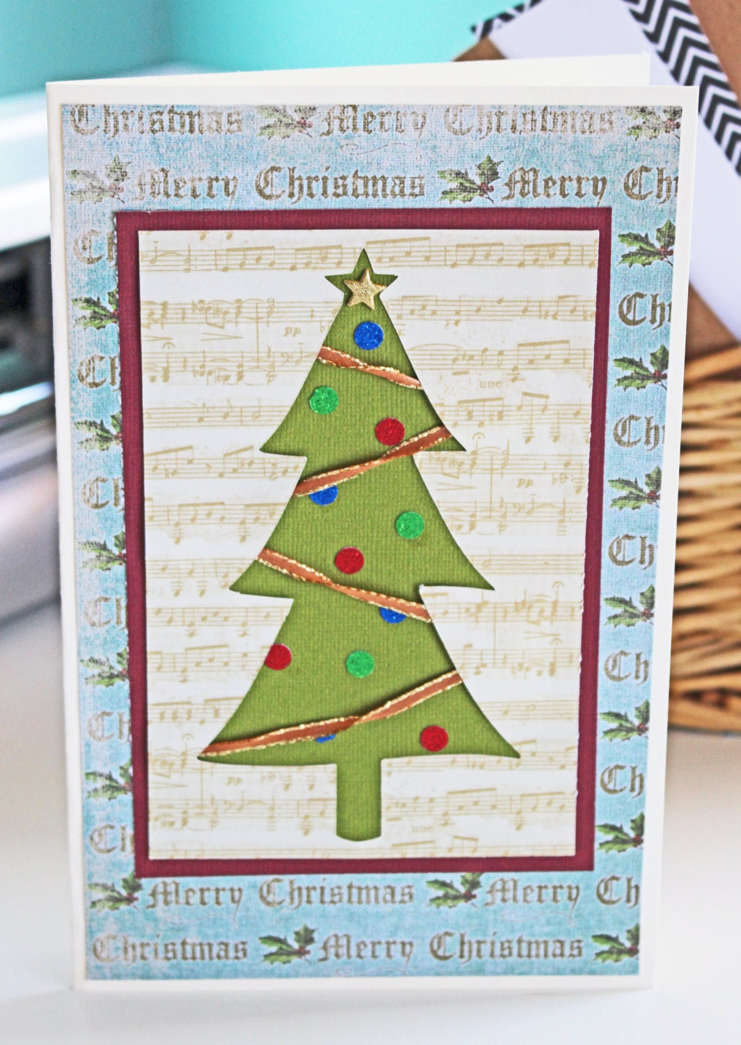 Christmas Tree Music Notes Greeting Card Holiday Holidays