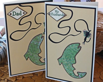Custom Fishing Card, Father's Day Card, Birthday Card, Fishing Card, Fly Fishing Card, Going Fishing, Fisherman, Handmade Card, Trout Card