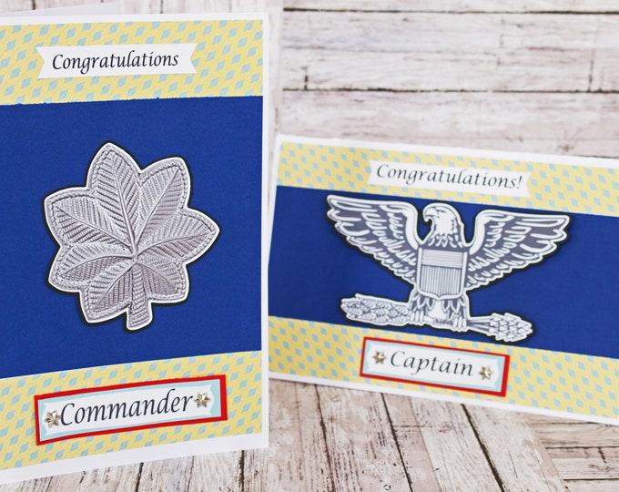 US Coast Guard Promotion Card,  Custom Rank Promotion Cards, Handmade Greeting Card, Retirement, USCG Promotion, Coastie Achievement Card