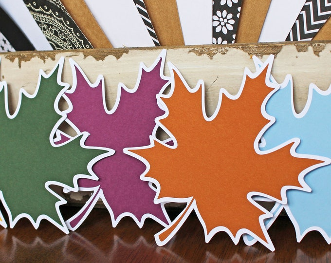 Set of 5, Fall Leaf Die Cuts, Maple Leaves Diecut Set, Colorful Thanksgiving Decor, Halloween Harvest Party, Scrapbook Page Embellishment