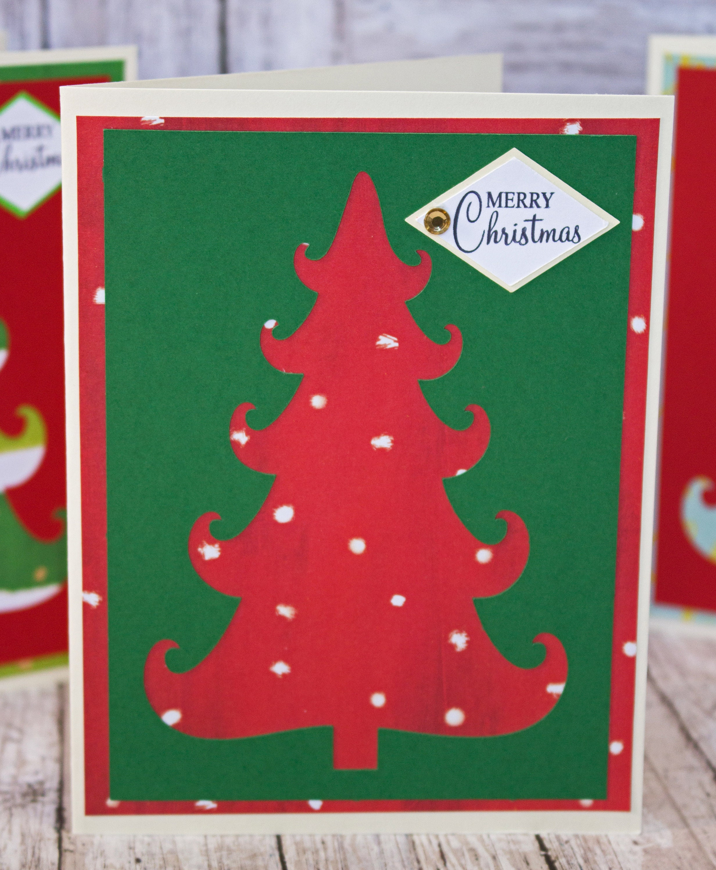 set of 3 christmas tree cards christmas tree cutouts