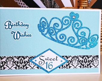 Custom, Sweet 16, Quinceanera, Handmade Birthday Card, Tiara Card, Glitter and Bling, 15th Birthday, 16th Birthday, Princess Card, Sixteen