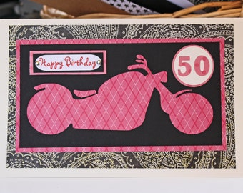 Motorcycle Card for Her, Pink Motorcycle Card, Handmade Card, Ladies Biker Card, Motorcycle Birthday Card, Personalized Card for Retirement