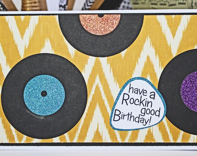 Vinyl Record Birthday Card, Have a Rockin Good Birthday, Handmade Greeting, Rock n Roll Card, Disco Soul Music, Classic Vintage, Retro DJ