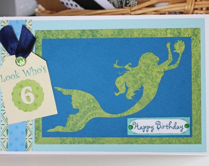 Mermaid Birthday Card, Custom Number Birthday Card, Handmade Greeting, Mermaid Card, Mermaid Theme Party, Card for Swimmer, Girl's Birthday