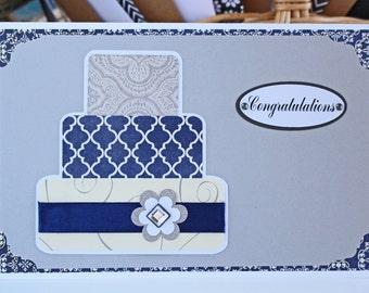 Blue and Silver Layered Wedding Cake Card - Wedding, Congratulations, Handmade, Card, Blue, Silver, Bridal, Bride, Groom, Cake, Newlywed, Do