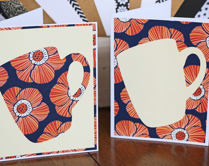 Set of 2, Coffee Cup Notecards, Coffee Cup Cards, Coffee Note Cards, Handmade Cards, Handmade Note Cards, Coffee, Cup, Cards, Blank Notecard