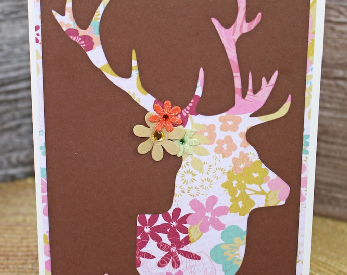Rustic Flower Deer Head Card, Custom Handmade Card, Floral Stag Head, Flower and Antlers, Birthday, Mother's Day, Just Because, Friendship