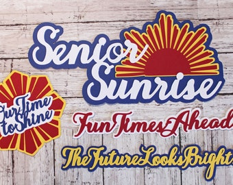 Senior Sunrise, Die Cut Set, High School Scrapbook, Senior Year Embellishments, 12th Grade Memories, First Day Senior Year, Last School Year