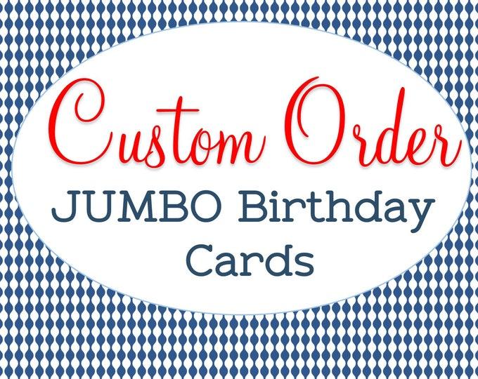 Custom Designed, Jumbo Sized, Birthday Card, Milestone Birthday, Personalized A4 Greeting Card, Happy Birthday Card, Unique Birthday Gift