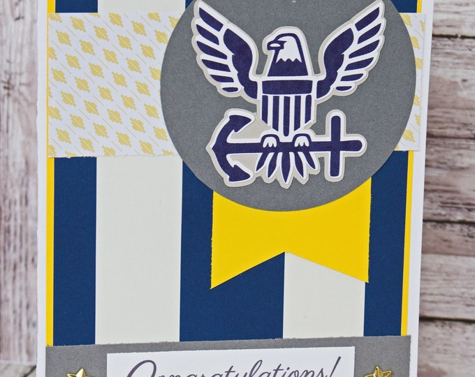 US Navy Card, Naval Retirement, Navy School Graduation, Rank Promotion, Special Achievement, Handmade Card, New Navy Logo, Congrats Gift