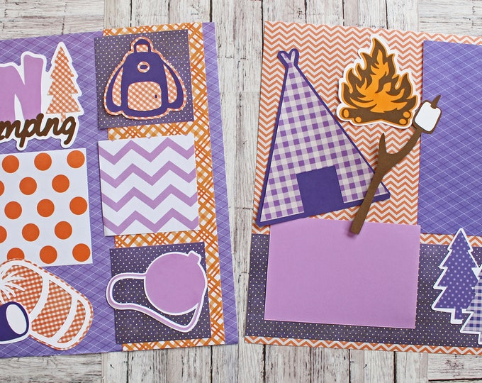 Fun Camping, Custom Colors, Tent Camp Site Supplies, Campfire Smores, Great Outdoors, 12x12 Memory Pages, 2 Page Scrapbook Set, Kids Scouts